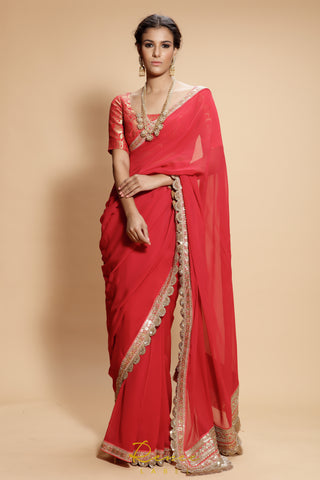 Red Heer Saree Set FRONT