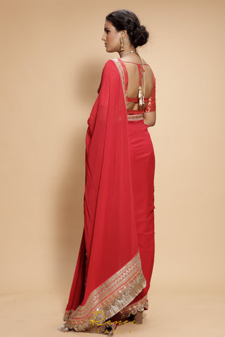 Red Heer Saree Set
