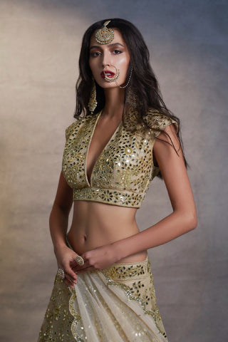 Gold Mirror Lehenga Choli Set