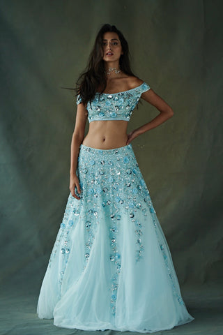 Tiffany Blue Floral Sequin Cascading Lehenga Set Front