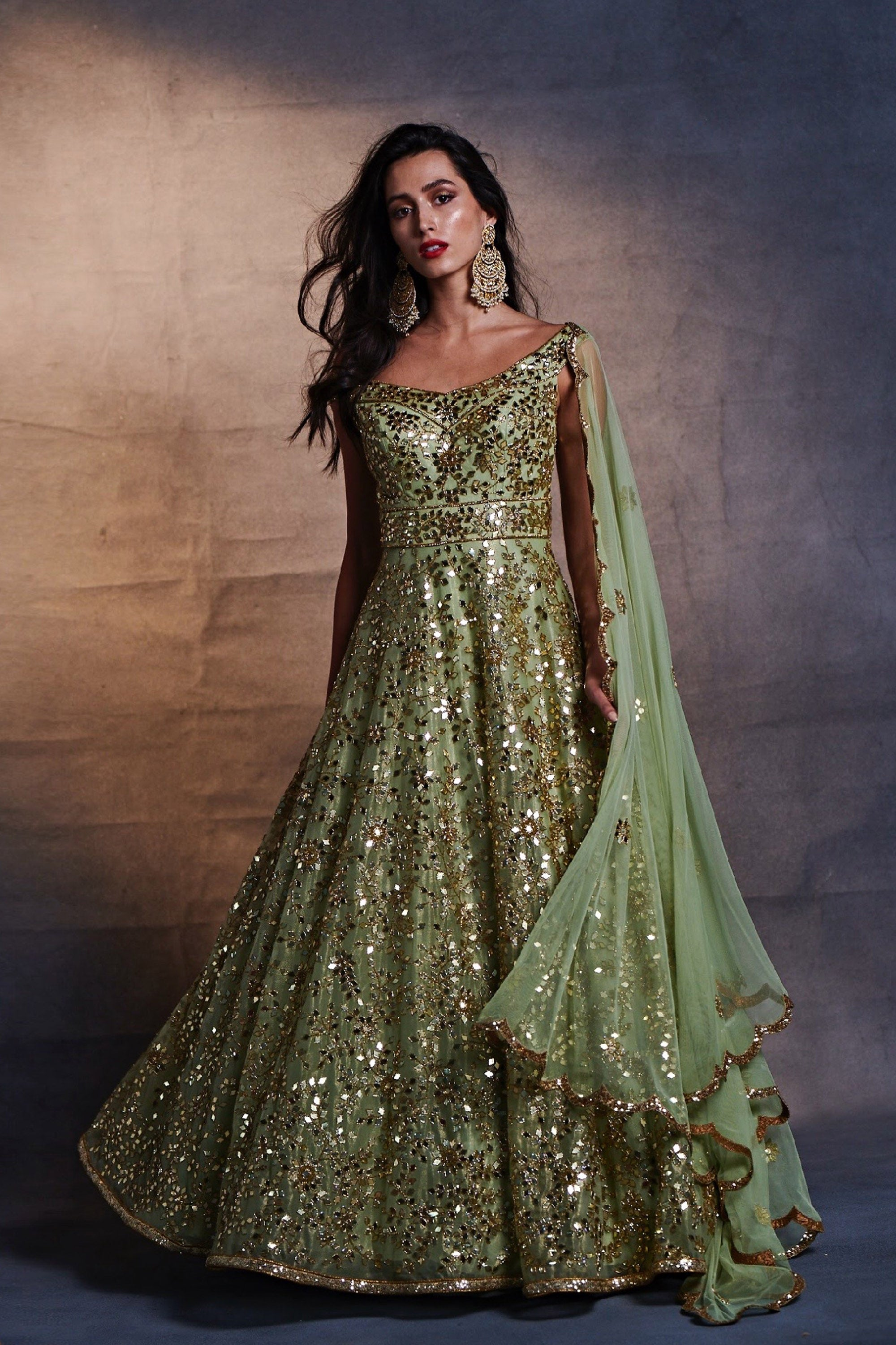 Green Mirrorwork Off Shoulder Anarkali Set Front