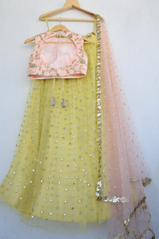 Lemon Zest Mirror & Pearl Lehenga Set