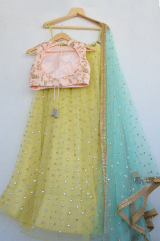 Lemon Zest Mirror & Pearl Lehenga Set With Powder Pink Blouse & Turquoise Blue Sequins Dupatta