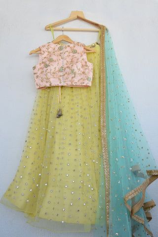 Lemon Zest Mirror & Pearl Lehenga Set With Powder Pink Blouse & Turquoise Blue Sequins Dupatta FRONT