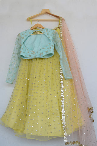 Lemon Zest Mirror & Pearl Lehenga Set With Abla Dupatta
