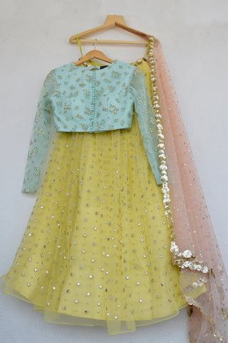 Lemon Zest Mirror & Pearl Lehenga Set With Abla Dupatta FRONT