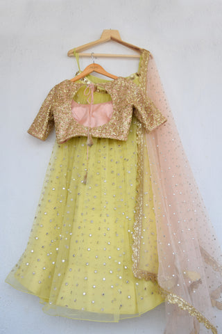 Lemon Zest Mirror & Pearl Lehenga Set With Salmon Pink Abla Dupatta