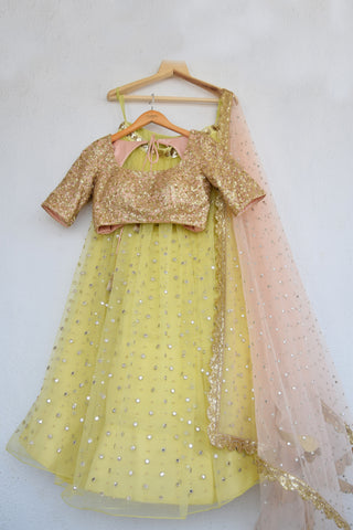 Lemon Zest Mirror & Pearl Lehenga Set With Salmon Pink Abla Dupatta FRONT