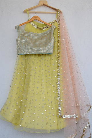 Lemon Zest Mirror & Pearl Lehenga Set With Cutwork Sequins Blouse