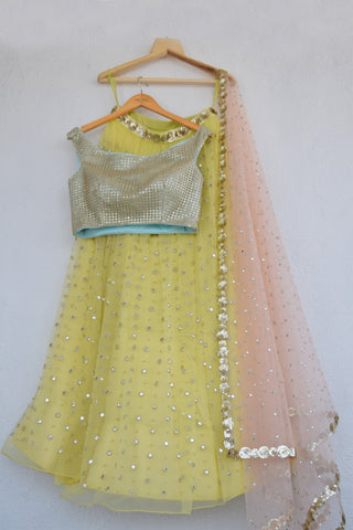Lemon Zest Mirror & Pearl Lehenga Set With Cutwork Sequins Blouse FRONT