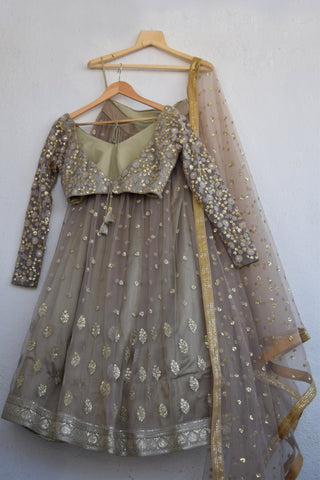 Stone Grey Flower & Butti Lehenga With Thread And Sequinswork Blouse