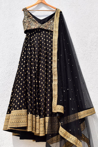 Raven Black & Gold Lehenga Set