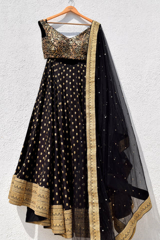 Raven Black & Gold Lehenga Set FRONT