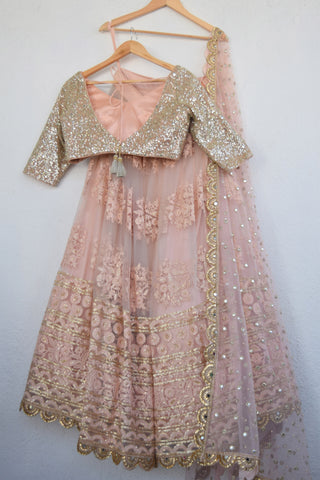 Apricot Blush Threadwork Lehenga With Blush Mirror & Pearl Dupatta