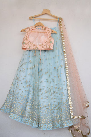 Duck Egg Blue Embroidered Sequins Lehenga