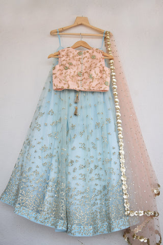 Duck Egg Blue Embroidered Sequins Lehenga FRONT