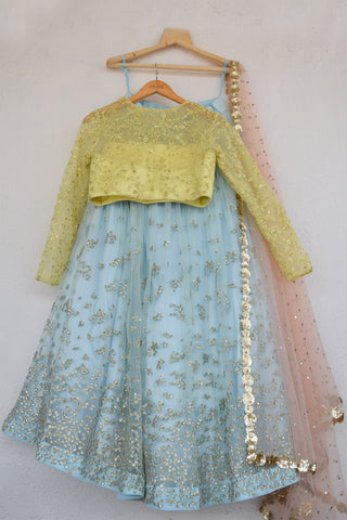 Duck Egg Blue Embroidered Sequins Lehenga With Lemon Yellow Blouse