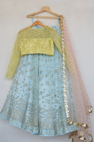 Duck Egg Blue Embroidered Sequins Lehenga With Lemon Yellow Blouse FRONT
