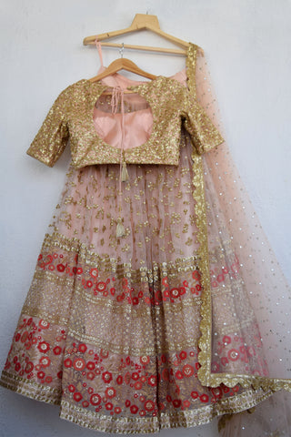 Apricot Blush Sequins & Red Threadwork Lehenga Set
