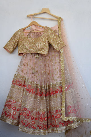 Apricot Blush Sequins & Red Threadwork Lehenga Set FRONT