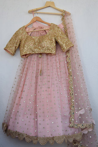 Blush Pink Mirror & Pearl Lehenga With Apricot Blush Sequins Blouse FRONT