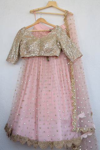 Blush Pink Mirror & Pearl Lehenga With Apricot Blush  Mirror  Blouse FRONT