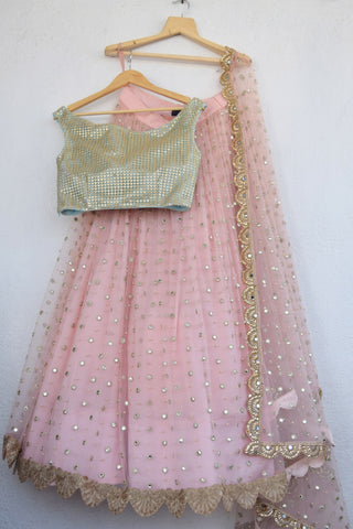 Blush Pink Mirror & Pearl Lehenga With Artic Blue Gold Cutwork Blouse
