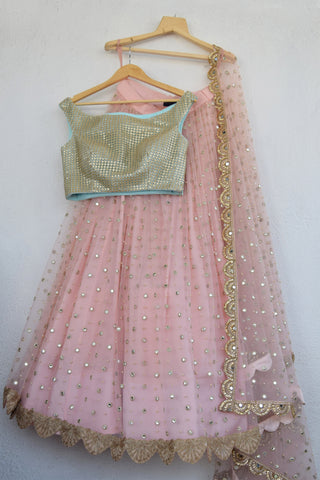 Blush Pink Mirror & Pearl Lehenga With Artic Blue Gold Cutwork Blouse FRONT