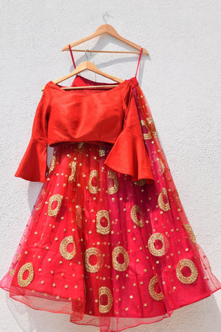 Red Ombre Lehenga  With Cutout Sleeve Croptop FRONT