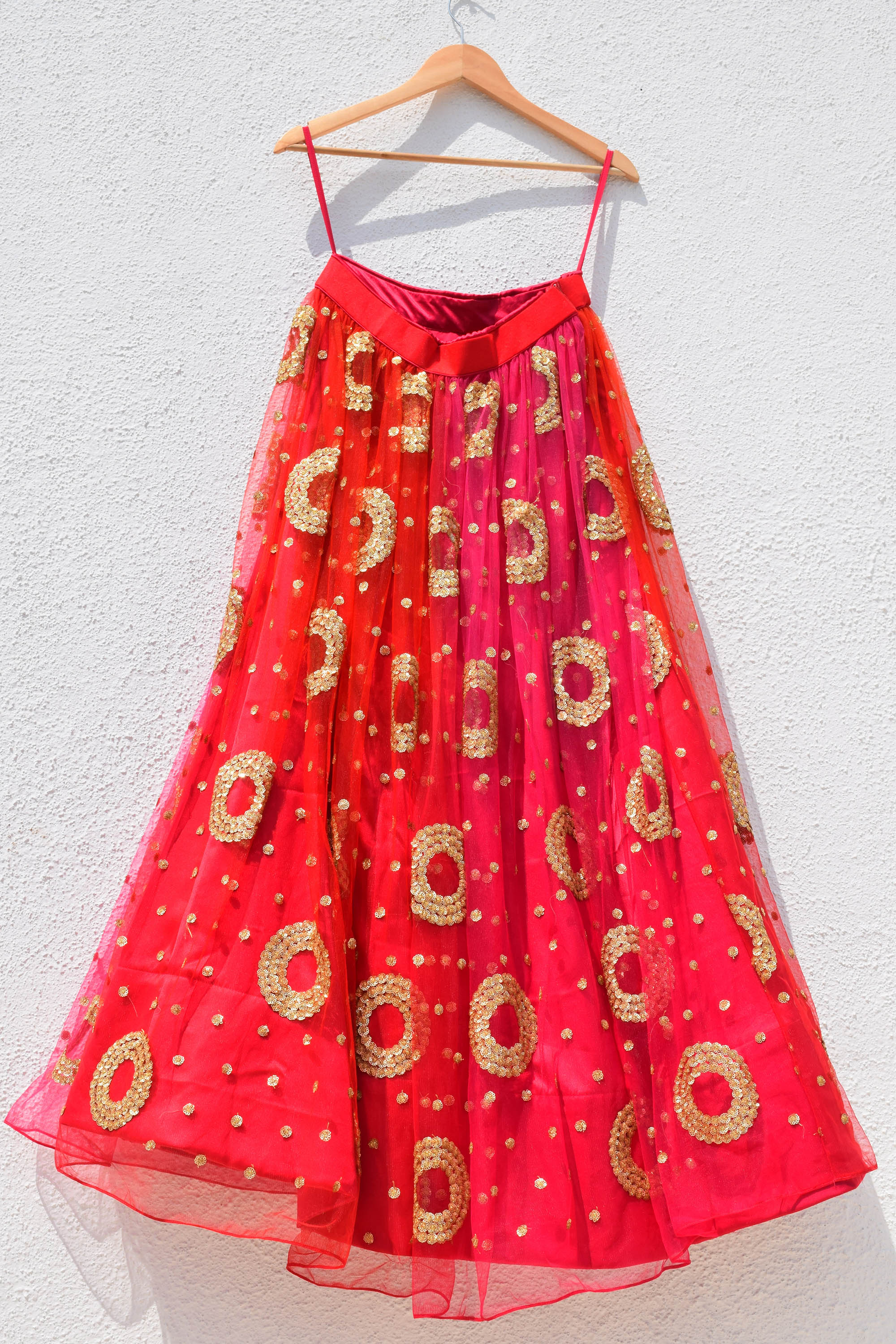 Red Ombre Lehenga  With Cutout Sleeve Croptop CLOSE