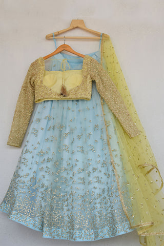 Duck Egg Blue Embroidered Sequins Lehenga With Butter Yellow Blouse & Dupatta BACK