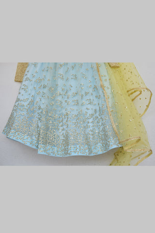 Duck Egg Blue Embroidered Sequins Lehenga With Butter Yellow Blouse & Dupatta