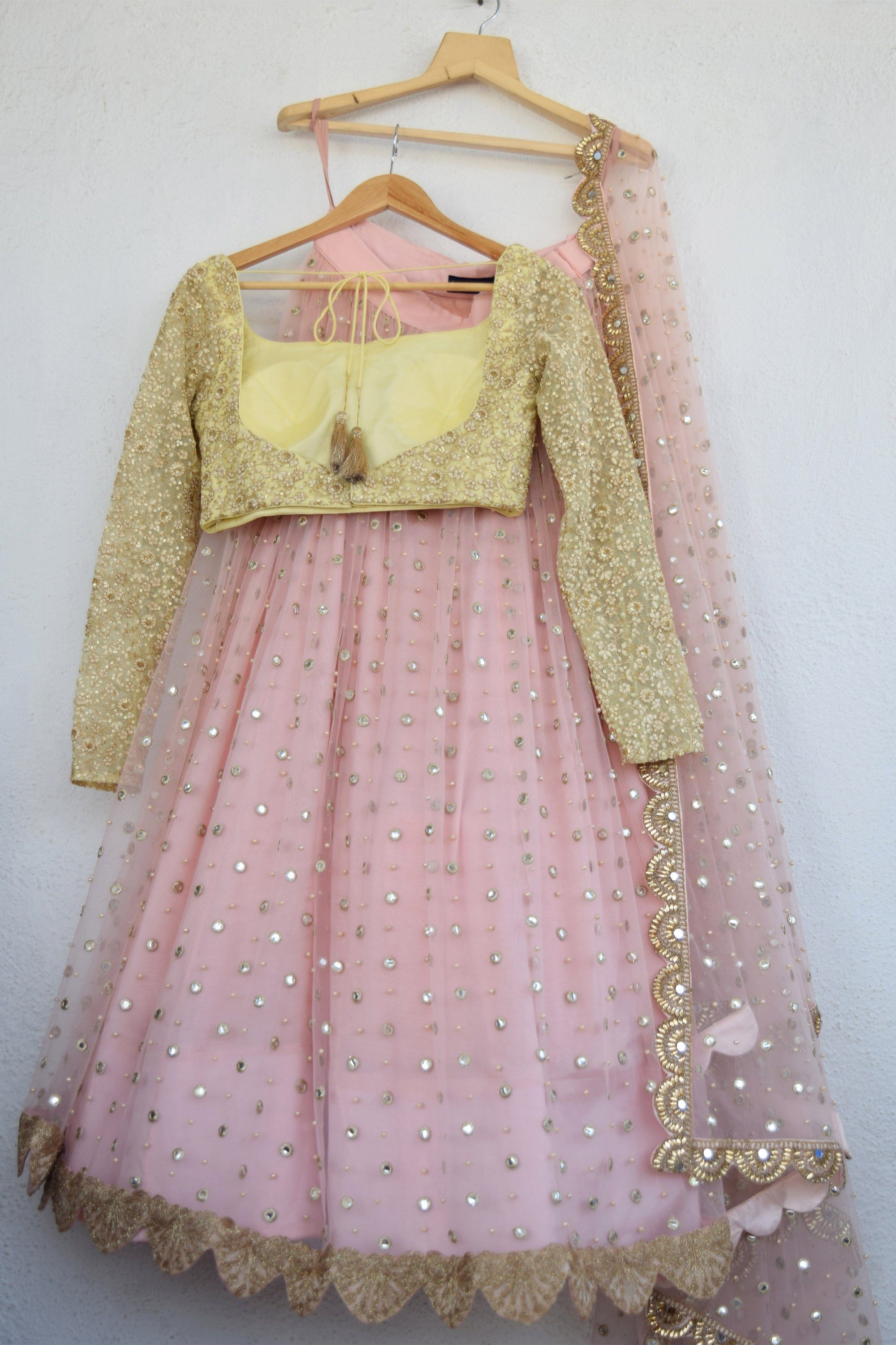 Blush Pink Mirror & Pearl Lehenga With Butter Yellow Blouse BACK