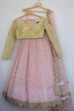 Blush Pink Mirror & Pearl Lehenga With Butter Yellow Blouse FRONT