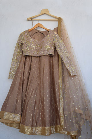Chestnut Brown Lehenga Set FRONT