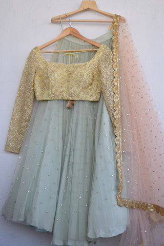 Turquoise Blue Abla Lehenga With Lemon Butter Yellow Blouse FRONT