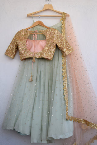 Greyish Turquoise Abla Lehenga With Apricot Blush Sequins Blouse