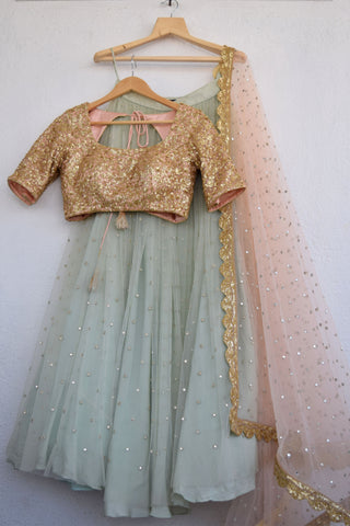 Greyish Turquoise Abla Lehenga With Apricot Blush Sequins Blouse FRONT