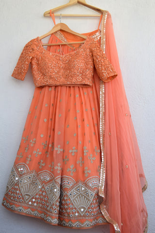 Pumpkin Orange Lehenga Set FRONT