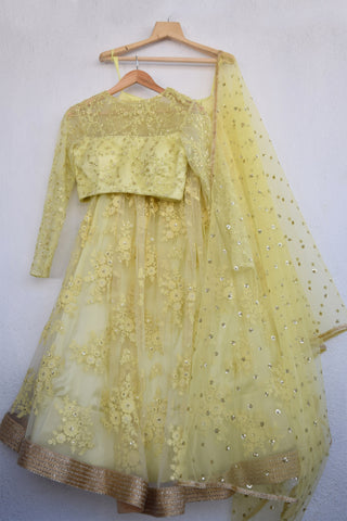 Lemon Yellow Lehenga Set FRONT