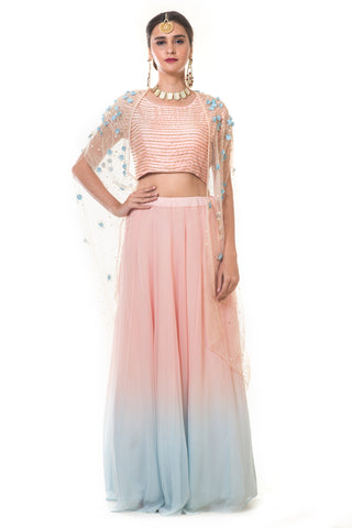 Pink & Baby Blue Shaded Cape & Lehenga Set FRONT
