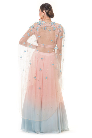 Pink & Baby Blue Shaded Cape & Lehenga Set