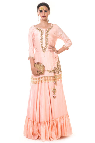 Peach Hand Embroidered Tasselled Kurta & Skirt Set FRONT