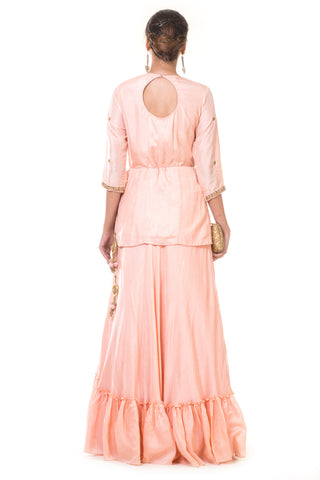 Peach Hand Embroidered Tasselled Kurta & Skirt Set
