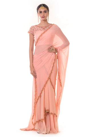 Hand Embroidered Peach Draped Saree Set FRONT