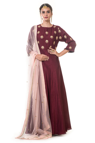 Maroon Hand Embroidered Anarkali Set FRONT