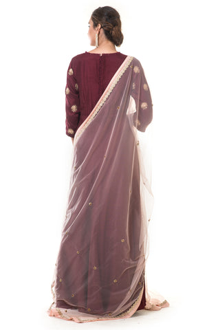 Maroon Hand Embroidered Anarkali Set