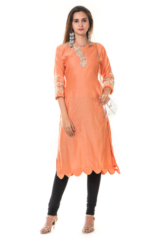 Hand Embroidered Orange Scallop Kurta FRONT