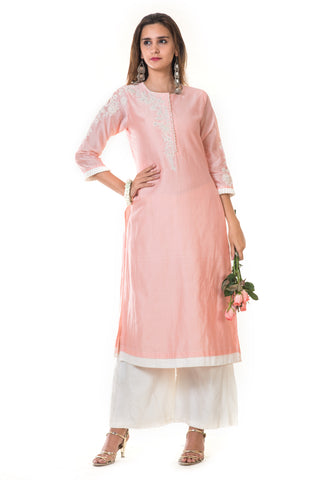 Pink Hand Embroidered Long Kurta & Palazzo Pants FRONT