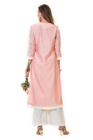 Pink Hand Embroidered Long Kurta & Palazzo Pants
